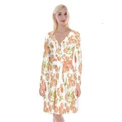 Floral Dreams 12 D Long Sleeve Velvet Front Wrap Dress