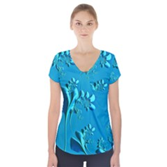 Amazing Floral Fractal A Short Sleeve Front Detail Top