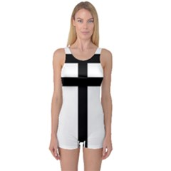 Patriarchal Cross One Piece Boyleg Swimsuit