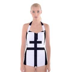 Patriarchal Cross Boyleg Halter Swimsuit