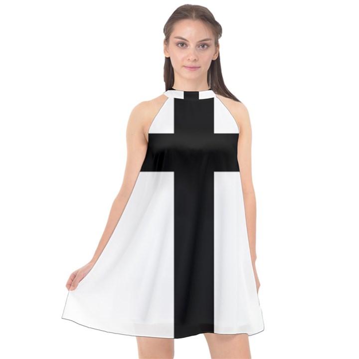 Patriarchal Cross Halter Neckline Chiffon Dress
