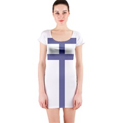 Patriarchal Cross Short Sleeve Bodycon Dress