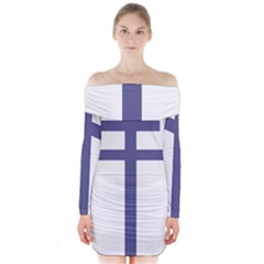 Patriarchal Cross Long Sleeve Off Shoulder Dress