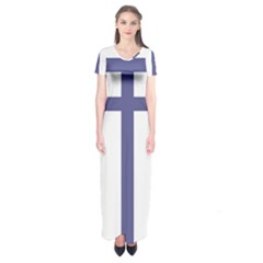Patriarchal Cross Short Sleeve Maxi Dress
