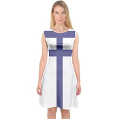 Patriarchal Cross Capsleeve Midi Dress