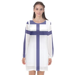 Patriarchal Cross Long Sleeve Chiffon Shift Dress