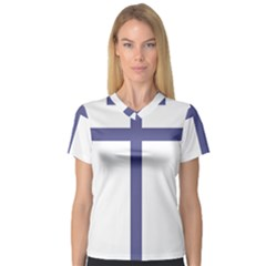 Patriarchal Cross  Women s V Neck Sport Mesh Tee