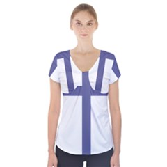 Patriarchal Cross  Short Sleeve Front Detail Top