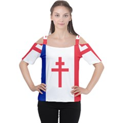 Flag Of Free France (1940 1944) Women s Cutout Shoulder Tee