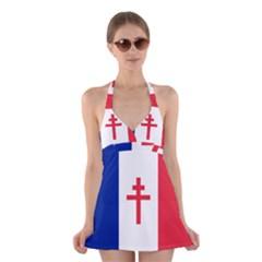 Flag Of Free France (1940 1944) Halter Swimsuit Dress