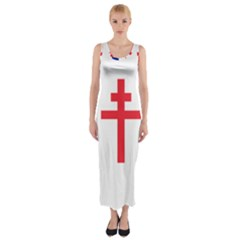 Flag of Free France (1940-1944) Fitted Maxi Dress