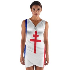 Flag Of Free France (1940 1944) Wrap Front Bodycon Dress