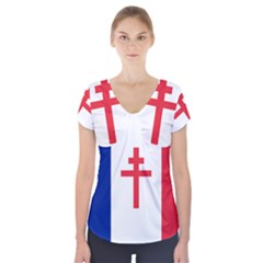 Flag Of Free France (1940 1944) Short Sleeve Front Detail Top