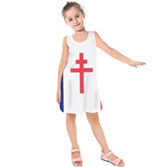 Flag Of Free France (1940 1944) Kids  Sleeveless Dress