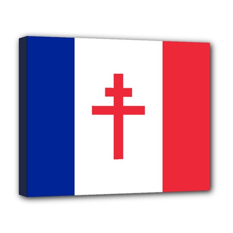 Flag Of Free France (1940 1944) Deluxe Canvas 20  X 16