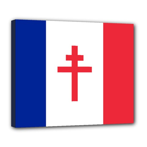 Flag Of Free France (1940 1944) Deluxe Canvas 24  X 20
