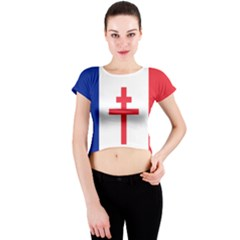 Flag Of Free France (1940 1944) Crew Neck Crop Top