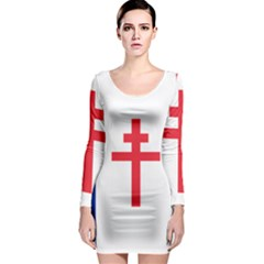 Flag Of Free France (1940 1944) Long Sleeve Bodycon Dress