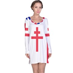 Flag Of Free France (1940 1944) Long Sleeve Nightdress