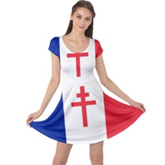 Flag Of Free France (1940 1944) Cap Sleeve Dresses