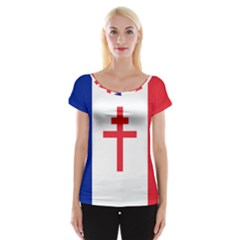 Flag Of Free France (1940 1944) Women s Cap Sleeve Top