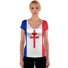 Flag of Free France (1940-1944) Women s V-Neck Cap Sleeve Top