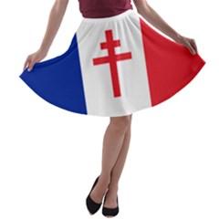 Flag of Free France (1940-1944) A-line Skater Skirt