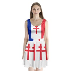 Flag Of Free France (1940 1944) Split Back Mini Dress