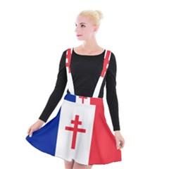 Flag Of Free France (1940 1944) Suspender Skater Skirt