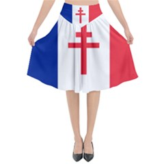 Flag Of Free France (1940 1944) Flared Midi Skirt