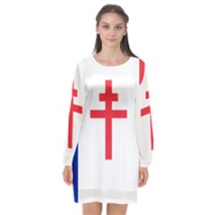 Flag Of Free France (1940 1944) Long Sleeve Chiffon Shift Dress