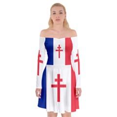 Flag Of Free France (1940 1944) Off Shoulder Skater Dress