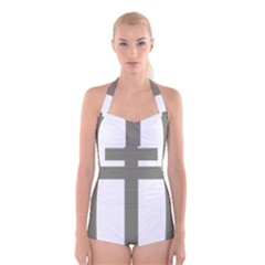 Cross Of Loraine Boyleg Halter Swimsuit