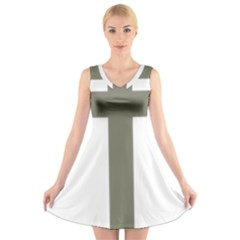 Cross Of Loraine V Neck Sleeveless Skater Dress