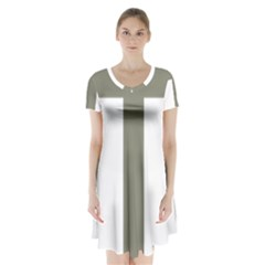 Cross Of Loraine Short Sleeve V Neck Flare Dress