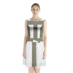 Cross Of Loraine Sleeveless Waist Tie Chiffon Dress