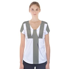 Cross Of Loraine Short Sleeve Front Detail Top