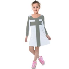 Cross Of Loraine Kids  Long Sleeve Velvet Dress