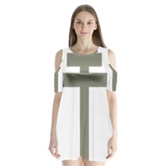 Cross Of Loraine Shoulder Cutout Velvet  One Piece