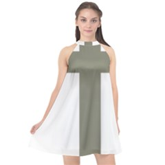 Cross Of Loraine Halter Neckline Chiffon Dress