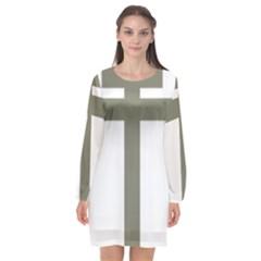 Cross Of Loraine Long Sleeve Chiffon Shift Dress