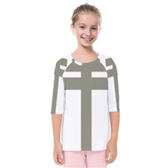 Cross Of Lorraine  Kids  Quarter Sleeve Raglan Tee