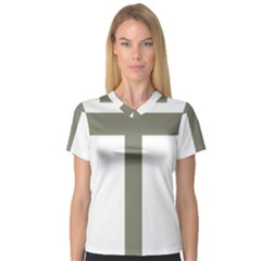 Cross Of Lorraine  Women s V Neck Sport Mesh Tee