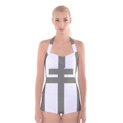 Cross Of Lorraine  Boyleg Halter Swimsuit