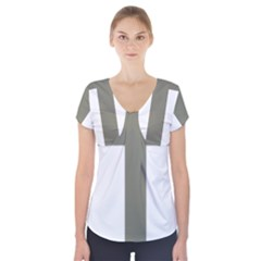 Cross Of Lorraine  Short Sleeve Front Detail Top