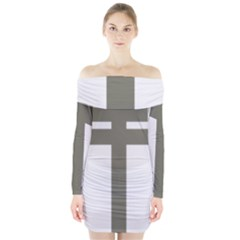 Cross Of Lorraine  Long Sleeve Off Shoulder Dress