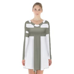 Cross of Lorraine  Long Sleeve Velvet V-neck Dress