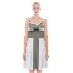 Cross Of Lorraine  Spaghetti Strap Velvet Dress