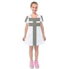 Cross Of Lorraine  Kids  Short Sleeve Velvet Dress
