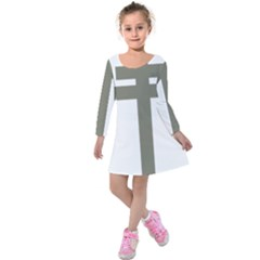 Cross Of Lorraine  Kids  Long Sleeve Velvet Dress